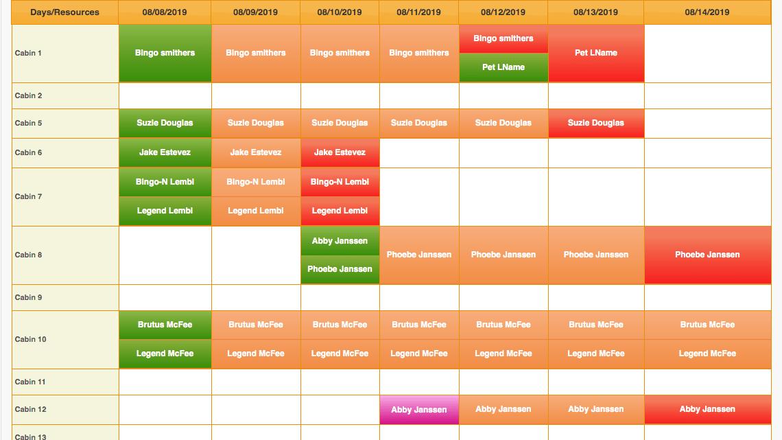 Paw Loyalty Lodging Calendar screenshot