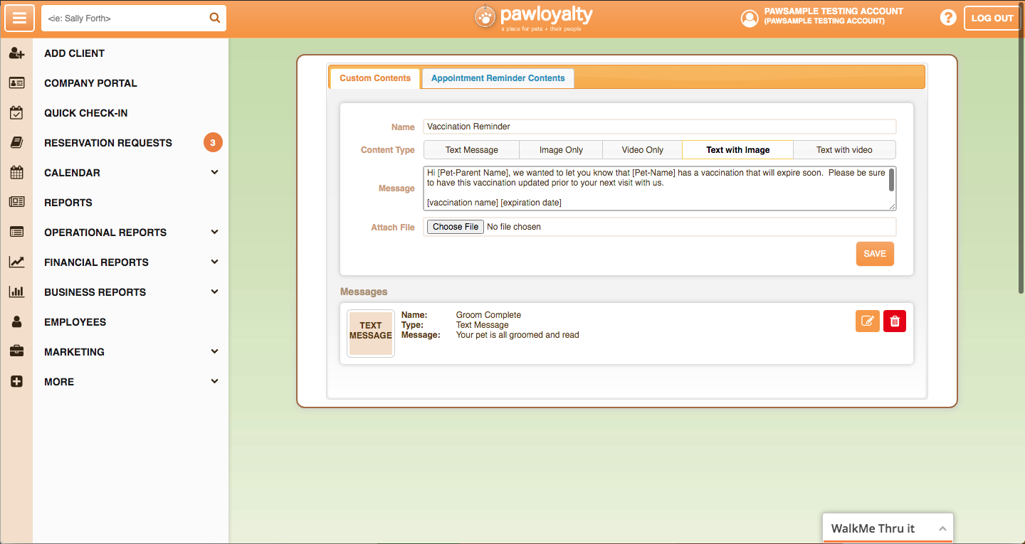 Paw Loyalty SMS and EMail Feature Screenshot